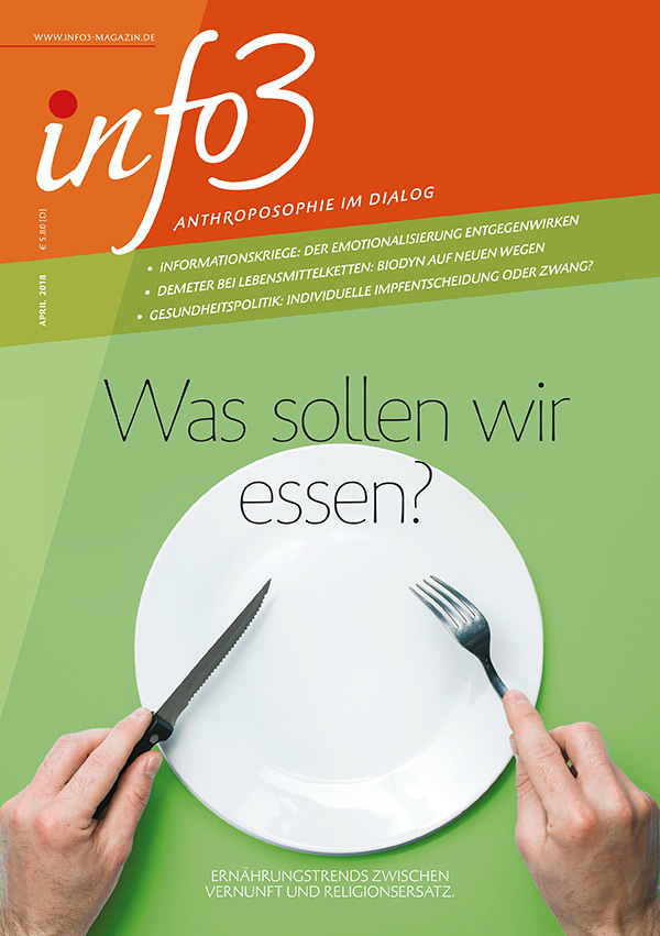 Was sollen wir essen? Zeitschrift Info3, Ausgabe April 2018.